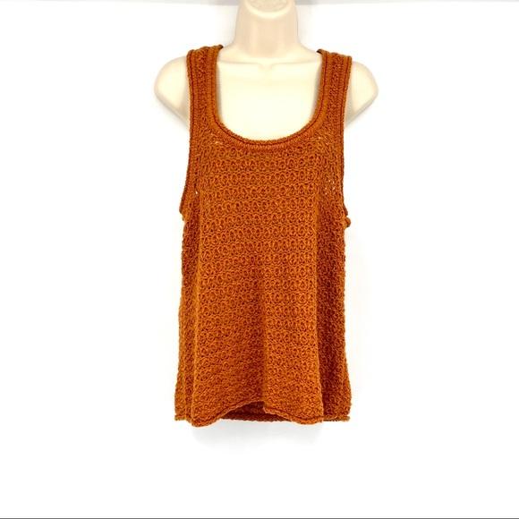 Artie open knit tank sweater rust nwot Large